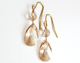 Gold crystal earrings - Swarovski crystal - bridesmaid earrings - bridal earrings - gold earings - crystal dangle earrings