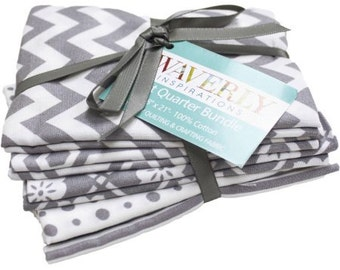 Fabric Bundle, Quilting Fabric, Fat Quarters, Chevron/Dots/Stripes, Craft Supplies, Waverly Fabric, Sewing Material, 5 Piece Grey/White