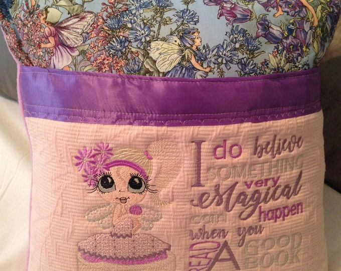 Pocket pillow fairy reading pillow light blue child reading pillow blue fairy fabric zip close purple satin trim pink flannel back