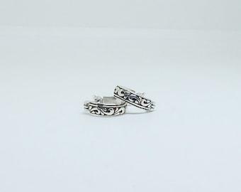 Sterling Silver Hoop Earrings , Oxidized unique Thai style Hoops
