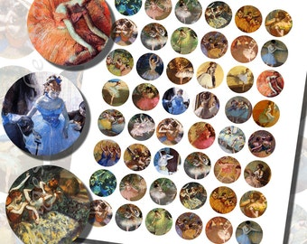Edgar Degas Ballet Dancers Printables, ONE INCH CIRCLES (25 mm), with 1.25 inch, 1/2 inch (13mm) and 3/4 inch (20mm) circles also included
