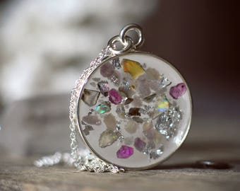 Large Silver Round Pendant with Crushed Pink Sapphire, Ethiopian Opal, Lepidolite and silver leaf flake, Sterling Silver Chain