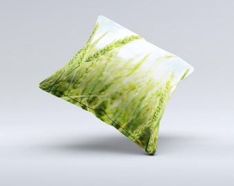 The Sunny Wheat Field ink-Fuzed Decorative Throw Pillow