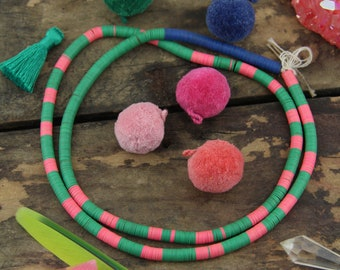Watermelon & Blueberry: Vintage African Vinyl Record Beads 6mm, Bohemian Tribal Jewelry Supply, Heishi Discs, African Waist Wedding Beads