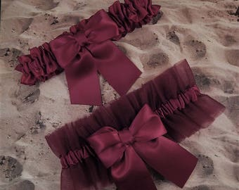 Burgundy maroon Wine Tulle Wine Satin Bridal Wedding Garter Toss Set