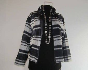 Vintage 80s light wool jacket kastig layered look oversize tartan Boxy jacket