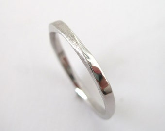 Platinum Wedding Band, 2mm Mobius Wedding Band, Platinum stacking wedding ring, Thin Platinum wedding ring, Simple stackable platinum ring