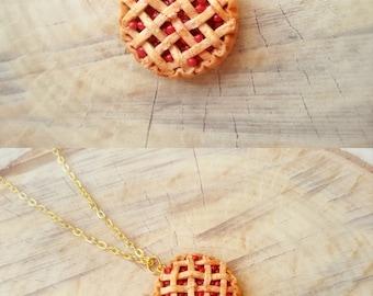 Cherry pie necklace, clay charm, cake necklace, miniature food charm, pie pendant, cherry necklace, food jewelry, kawaii charms, best friend