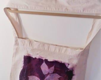 100% cotton calico shoulder bag purple Inkodye leaves print