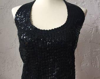 Vintage Handmade Matte Black Sequin Halter Crop Top Sz 2-4