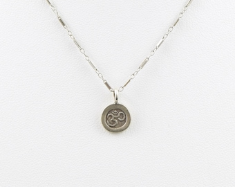 OM pendant (Karen Hill Tribe silver  ~95+ % ) necklace on Sterling silver chain with solid Sterling silver lobster clasp