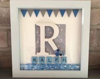 Baby / Christening / Birthday Boy Personalised Inital Name Frame