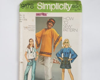 "Easy Sewing Pattern For Tunic With Kimono Sleeves And Hip-Hugger Pants 70s Vintage Sewing Pattern Size 12 Bust 34""(87 cm)-Simplicity 9178 G"