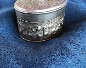 Oval silver plated box