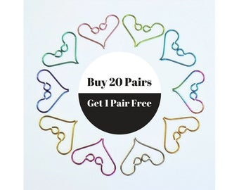 20 pairs Niobium Ear Wires plus 1 FREE Pair Colored Ear Wires Hypoallergenic Nickel Free for Sensitive Ears 3.00 Flat Rate Shipping