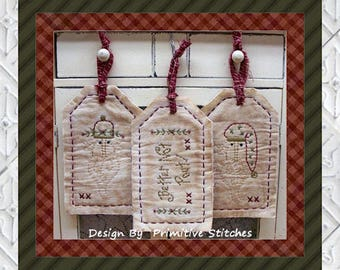 Better Not Pout Tag Collection-Primitive Stitchery  E-PATTERN by Primitive Stitches-Instant Download