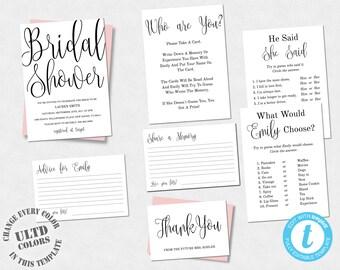 Modern Cursive Printable Bridal Shower Invitation Template, Bridal Shower Games, Bridal Shower Set, Instant Download Printable Template