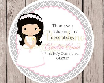 Girls First Holy Communion Favor Tags or Stickers in Pink and Silver Gray / Girls Communion / Choose Hair & Skin Color / Set of 12 - HC02