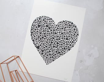 Monochrome heart print –first anniversary gift –black heart art –anniversary gift – paper cut art print – love gift – wedding gift