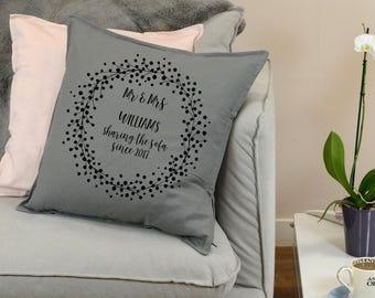 Personalised Cushion, Wedding Gift, Wedding Present, Custom Cushion, Wedding Cushion, Cushion Cover, Anniversary Gift, Mr and Mrs, Newlywed