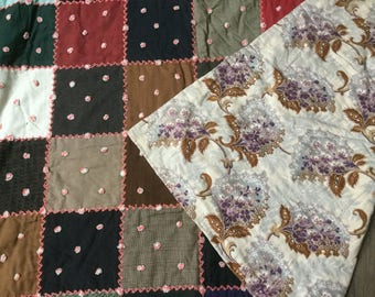 Hand-stitched Antique quilt patchwork quilt embroidered trim