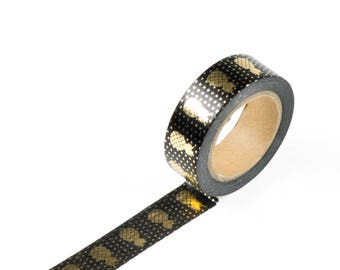 Gold foil black washi tape with pineapples
