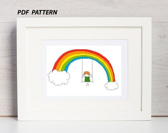 Modern cross stitch  pattern  swing on the rainbow, cross stitch patter, cross stitch chart, PDF pattern