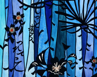 """Original Painting""""A message from the water fall"""" in Neo-Japonism style with original poem deep sea blue"""
