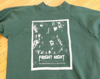 Vintage 80s FRIGHT NIGHT Sweatshirt - 1980s Horror Movie Poster Print Shirt Size XL