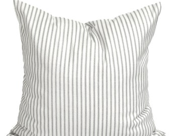 Ticking Stripe Pillow Covers, French Ticking Decorative Pillow, Grey Throw Pillow, Cushion, cm,French Country.Farmhouse. Storm Gray Ticking
