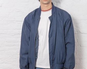 Vintage Silk Blue Bomber Jacket