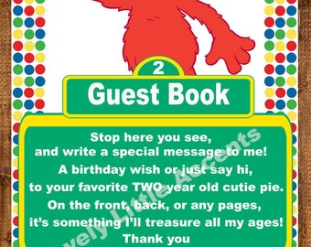 Elmo Sesame Street Guest book sign for two year old
