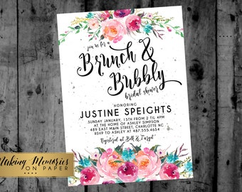 BRUNCH & BUBBLY INVITATION, Wine Invitation, Champagne Invitation, Bridal Shower Invitation, Brunch and Bubbly, baby shower, wine tasting