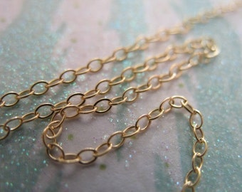 Shop Sale..10 feet, 14k Gold Filled Chain, Flat Cable, 15-25% Less, 2x1.4 mm, delicate petite dainty tgc ssgf. sgf1