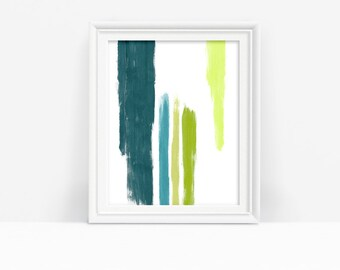 Green Abstract Art Print Download, Green Bedroom Decor Modern Brushstroke, Home Decor Printable