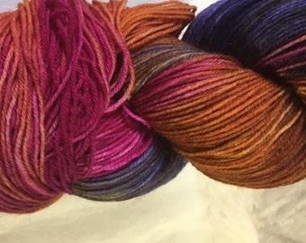 Purple, mustard, deep pink Hand Dyed 4ply Sock Wool/Nylon Yarn