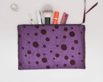 purple clutch bag with zipper wallet pencil case cosmetic pouch make-up bag velvet circles 24x15.5 cm Mothers day gift wine red