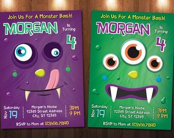 Monster Birthday Invitation, Monster Invitation, Monster Bash Invitation, Monster Party, Digital Printable Personalized Monster Party Invite