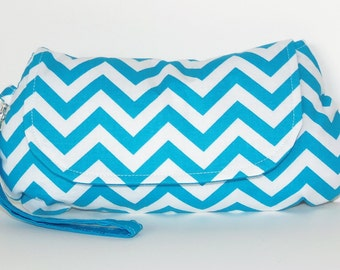 Turquoise and White Chevron Clutch with Wrist Strap Purse