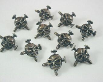10 pcs. Zinc Antique Brass Skull Rivet Stud Conchos Leathercraft Decoration 23 mm. SK BR 23 3 RV K