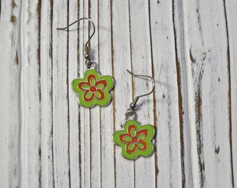 Flower Earrings, Dangle Earrings, Womans Jewellery, Gift Ideas for Her, Stainless Steel Hooks