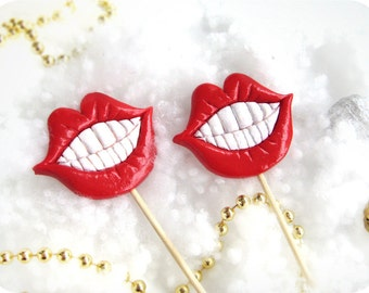 2 Plastic Lips with teeth on a Stick - Party photobooth props