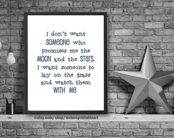 Moon and Stars Quote, Love Sign, Quote Print, Gift Idea for Her, For Him, Love Print, Printable Art, Love Quote Poster, Love Wall Art
