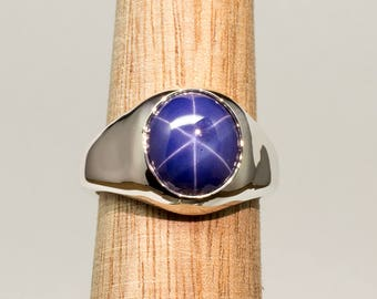 Gents Classic Vintage Style Lab Created Blue Star Sapphire Designer Sterling Silver Gypsy Set Ring