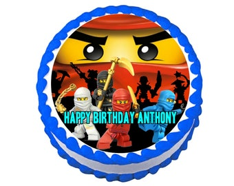 "NINJAGO 8"" Circle Round Edible Frosting Icing Sheet Cake Topper Image Customized Personalized Birthday 1st Party Custom Decoration"