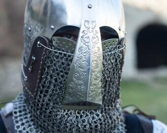 """Helm """"Knight of Fortune""""; Medieval Bascinet; Helmet; Medieval Helmet; Custom Helm; Handmade Helm"""