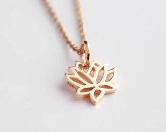 Lotus pendant etsy rose gold lotus necklace rose gold lotus pendant lotus charm rose gold jewellery mozeypictures Choice Image