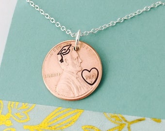 Graduation Penny Necklace,  Graduation Hat Necklace, Class of 2018 Necklace, Hand Stamped Penny Necklace -Personalized Penny