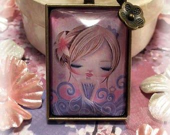 Girls Pendant Necklace, Gift for Girls, Girls Jewelry, Art Pendant, Wearable Art, Whimsical, Antique Bronze, Bronze Flower Charm, Rectangle