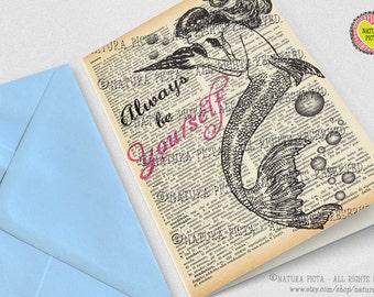 Always be yourself Mermaid quote card-Mermaid card-Birthday card-Little mermaid card-dictionary card-blank card-handmade card-set of 3 card